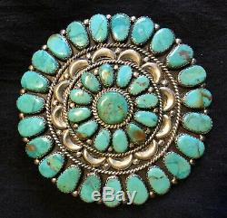 Navajo Sterling Silver Cluster Turquoise Pin/pendant By'jw