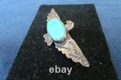 Navajo Sterling Silver Fred Harvey Era Large Turquoise Thunderbird Pin/Brooch