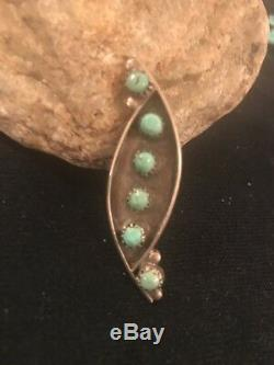 Navajo Sterling Silver Handmade Cluster Turquoise Pin Old Pawn