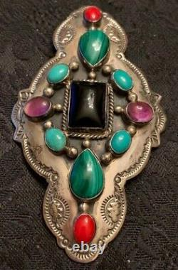 Navajo Sterling Silver Handmade Turquoise, Onyx, Red Coral Pin G. Nelson