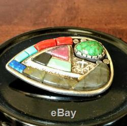 Navajo Sterling Silver Heart Shaped Brooch Multi-Stoned Vernon A Begaye Old