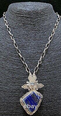 Navajo Sterling Silver Lapis Kachina Pin Pendant Bennie Ration