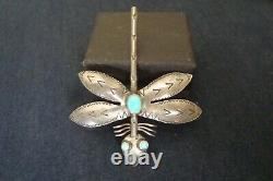 Navajo Sterling Silver Large Fred Harvey Era Turquoise Dragonfly Pin, 1940's