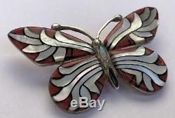 Navajo Sterling Silver Mother Of Pearl & Coral Butterfly Pin Pendant LOREN BEGAY