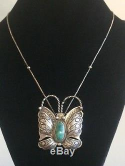 Navajo Sterling Silver Randy Boyd Turquoise Butterfly Pendant / Pin Necklace 925