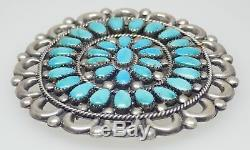 Navajo Sterling Silver & Turquoise Southwest Oval Shape Cluster Pin Brooch