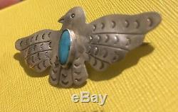 Navajo Thunderbird Pin Silver Turquoise VTG Brooch Old Pawn Native American Bird