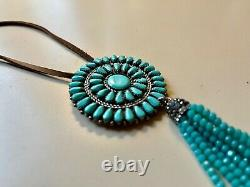 Navajo Turquoise Cluster Pin Pendant Necklace Large 2.5 Zuni Silver Bead Tassel