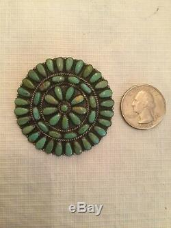 Navajo Turquoise Cluster Sterling Silver Pin/Pendant by Larry Moses Begay