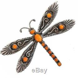 Navajo Turquoise Necklace Pendant Brooch Sterling Silver DESERT DRAGONFLY Pin