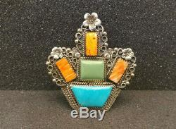 Navajo Turquoise Orange Spiny Oyster Sterling Silver Cactus Plant Pin Pendant