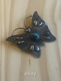 Navajo Turquoise & Sterling Silver Butterfly Pin Signed