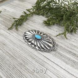 Navajo handmade sterling silver turquoise pin, Southwest concho brooch, Rita Lee