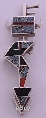 Navajo sterling & Turquoise, Coral, Onyx inlay large pendant & pin Ray Tracey