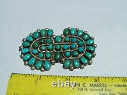 Navajo vintage Dead Pawn Sterling Silver natural Turquoise. 3x 2 39 stones