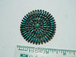 Navajo vintage Dead Pawn Sterling Silver natural Turquoise Cluster Pin. 2 3/8