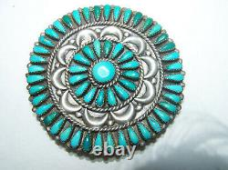 Navajo vintage Dead Pawn Sterling Silver natural Turquoise Cluster PinPendant. 3