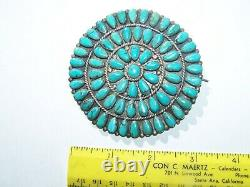 Navajo vintage Dead Pawn Sterling Silver natural Turquoise Pin. 3 1/4