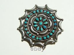 Navajo vintage Dead Pawn Sterling Silver natural Turquoise pin