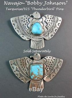 NavajoBobby JohnsonNatural Blue TurquoiseTHUNDERBIRDHand Stamped Pin