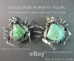 NavajoMarita BenallyHand FabricatedGem Grade Carico Lake 925 Pin/Pendant