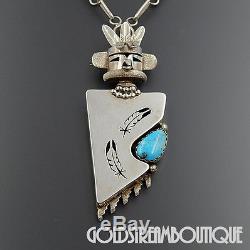 Nelson Morgan Navajo 925 Silver Turquoise Warrior Kachina Pin Necklace #06352