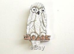 New Zuni Owl Sterling Silver Pendant & Pin Pablito Quam