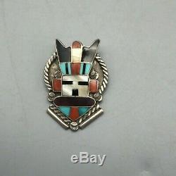 Nice! A Vintage Zuni Inlay Pin or Brooch of an Antelope Kachina Design