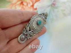 OLD Bell Trading Post Sterling Silver Turquoise Brooch Pin Native American 3