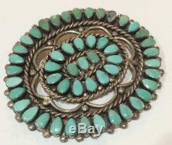 OLD LARGE VINTAGE ZUNI Sterling Silver & Turquoise CLUSTER PIN BROOCH