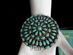 OLD LARRYMOSES BEGAY Outstanding Cluster Sterling /Turquoise Pendant /Pin 2.5