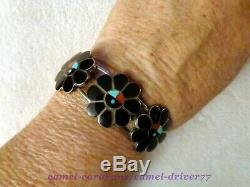 OLD Sterling Silver ZUNI SUNFACE Bracelet Pin Rings TURQUOISE Coral ONYX Inlay