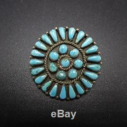 OLD Vintage NAVAJO Sterling Silver & PETIT POINT Turquoise Cluster PIN/BROOCH