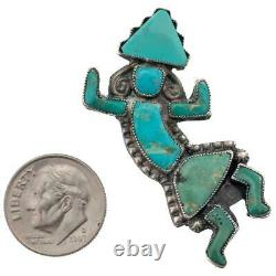OLD Zuni CROWN DANCER Pin Brooch Turquoise Sterling Silver Old Pawn Vintage