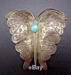 Old 1930s NAVAJO Hand Stamped Sterling Silver & Turquoise BUTTERFLY PIN/BROOCH