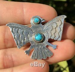 Old Fred Harvey Era Navajo Thunderbird Spiderweb Turquoise Sterling Silver Pin