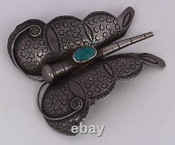 Old HUGE sterling silver & turquoise, large hand stamped butterfly pin brooch