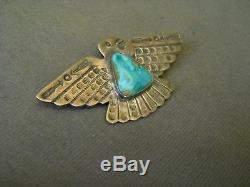 Old Hancrafted Native American Indian Turquoise Sterling Silver Thunderbird Pin