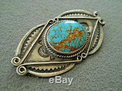 Old Harvey Era Native American Spiderweb Turquoise Sterling Silver Stamped Pin