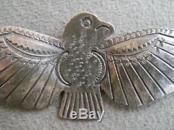 Old Native American Hand Stamped Sterling Silver Thunderbird Pin / Brooch