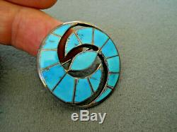 Old Native American Indian Turquoise Inlay Sterling Silver Hummingbird Pin