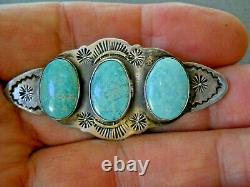 Old Native American Navajo 3- Stone Turquoise Sterling Silver Stamped Brooch Pin