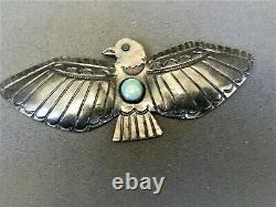 Old Native American Navajo Turquoise Sterling Silver Thunderbird Pin / Brooch