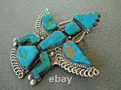 Old Native American Turquoise Inlay Sterling Silver Knifewing Kachina Pin Brooch
