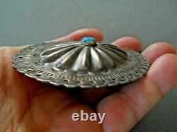 Old Native American Turquoise Sterling Silver Repousse Concho Brooch, Pin, pendant