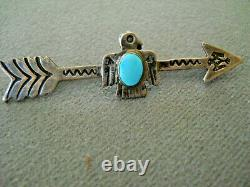 Old Native American Turquoise Sterling Silver Stamped Thunderbird Arrow PIn