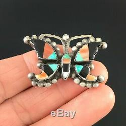 Old Native American Zuni Sterling Silver Multi-stone Inlay Butterfly Pin Brooch