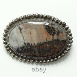 Old Navajo Fred Harvey Era Oval Petrified Wood Pin Brooch Handmade w Raindrops