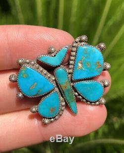 Old Navajo Native American Silver Blue Gem Turquoise Inlay Butterfly Pin Brooch
