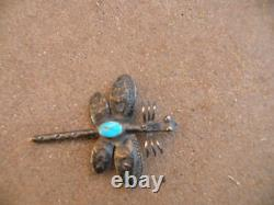 Old Navajo Sterling & Turquoise dragonfly bug shape pin, brooch unique & unusual